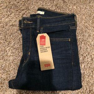 Levi's 720 high rise super skinny blue jeans 27x30